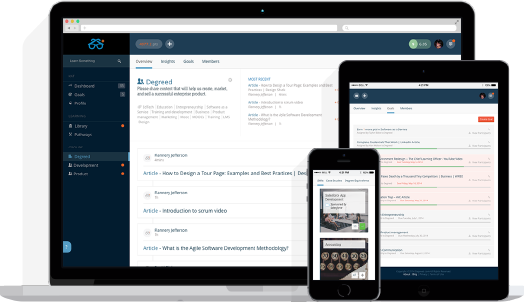illustration showing the Degreed app available on multiple devices